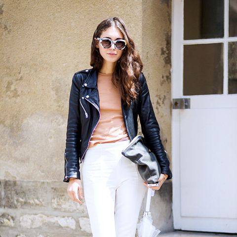 moto jacket over white