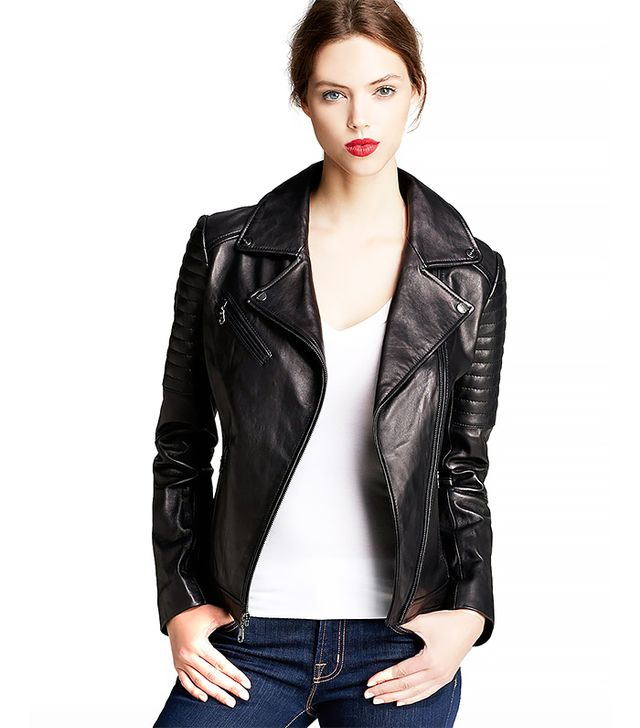 DKNY Jenna Leather Moto Jacket