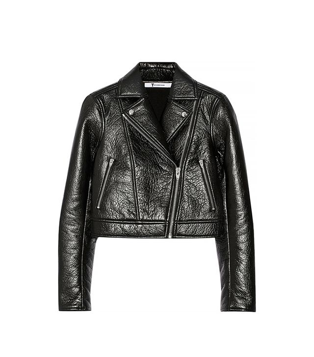 T by Alexander Wang Bonded Textured Leather Biker Jacket
