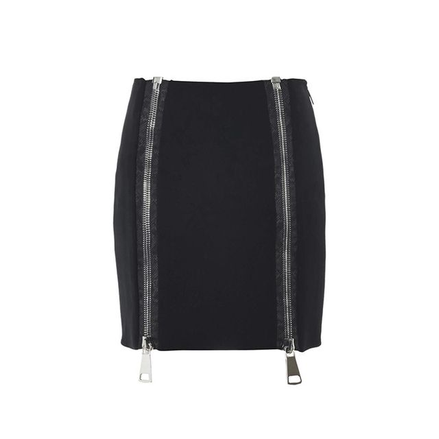 Christopher Kane Double-Zip Stretch-Cady Skirt