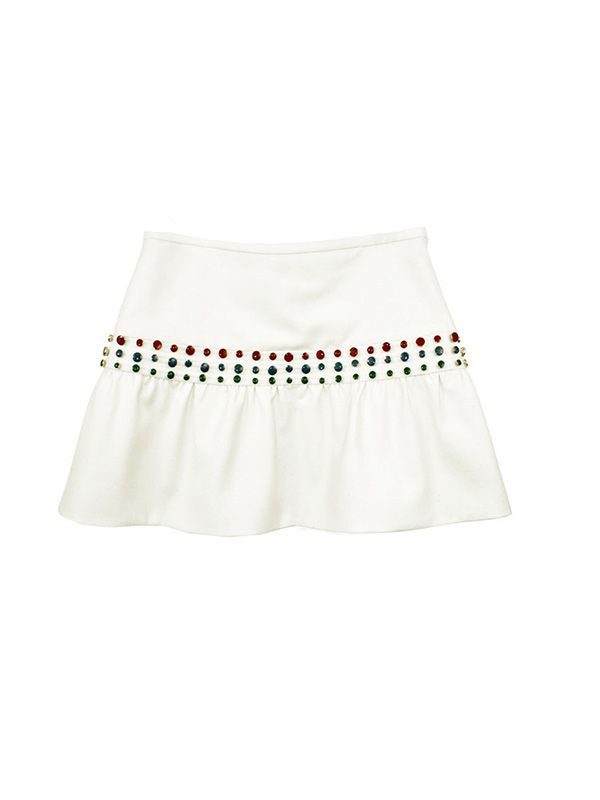 Cynthia Rowley Flounce Mini Skirt with Cabochon