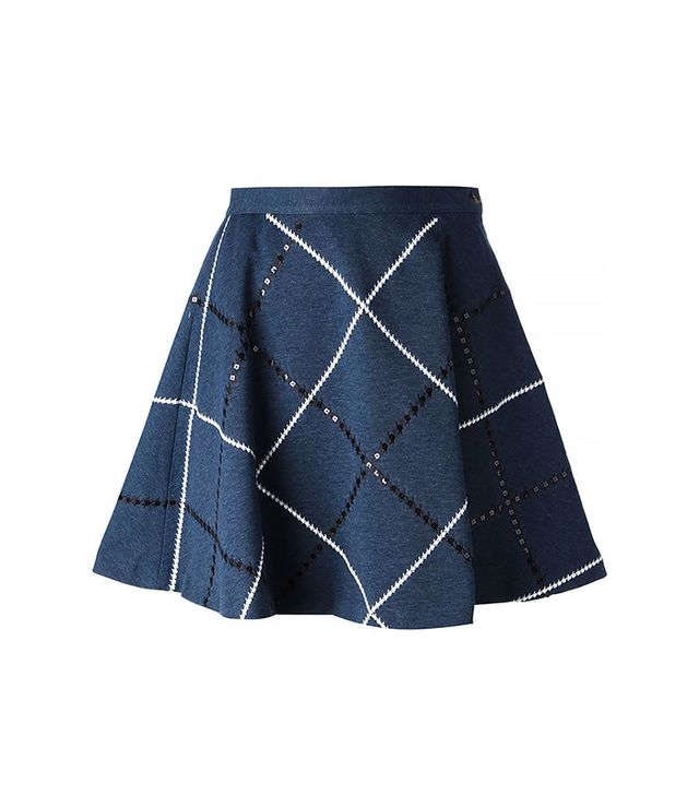 28.5 Embroidered Argyle Skirt