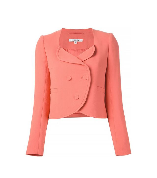 Carven Double Breasted Crepe Blazer