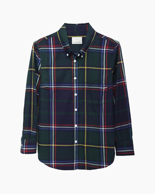 Band of Outsiders Cropped Sleeve Plaid Shirt