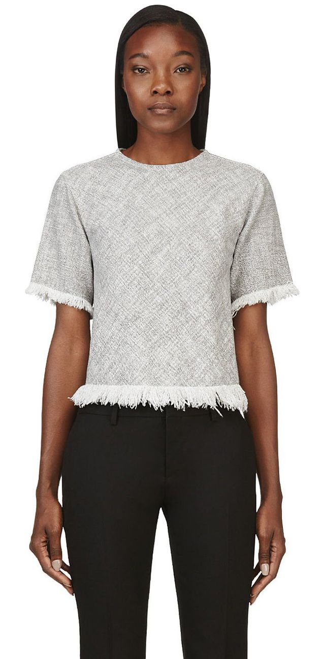 T by Alexander Wang Grey Cotton Burlap Frayed & Cropped Shirt