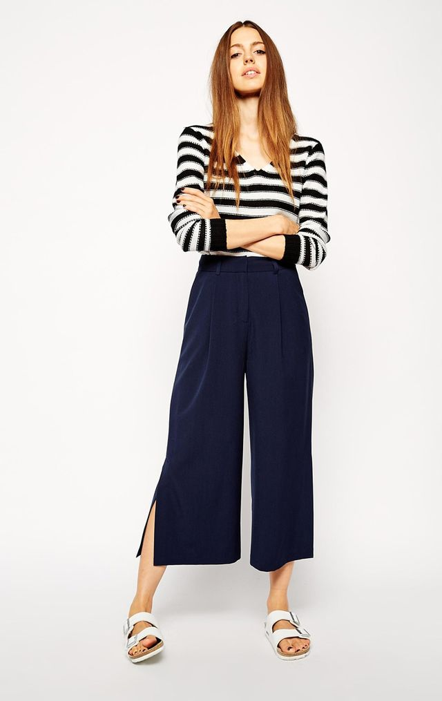 ASOS Wide Midi Pant with Contrast Waistband