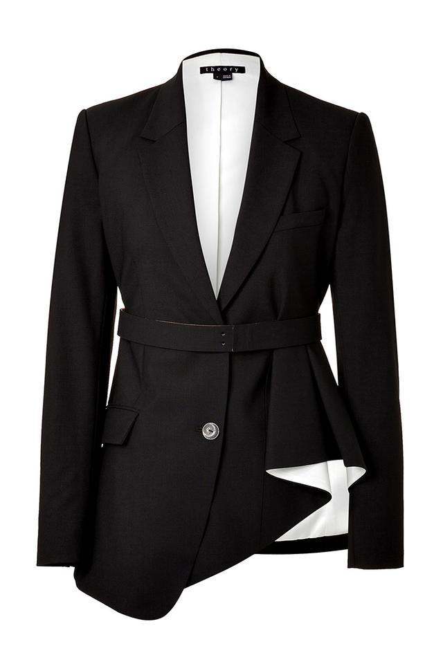 Theory Tailored Blazer with Asymmetric Ruffle Hem