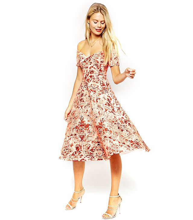 ASOS Porcelain Print Bardot Midi Prom Dress