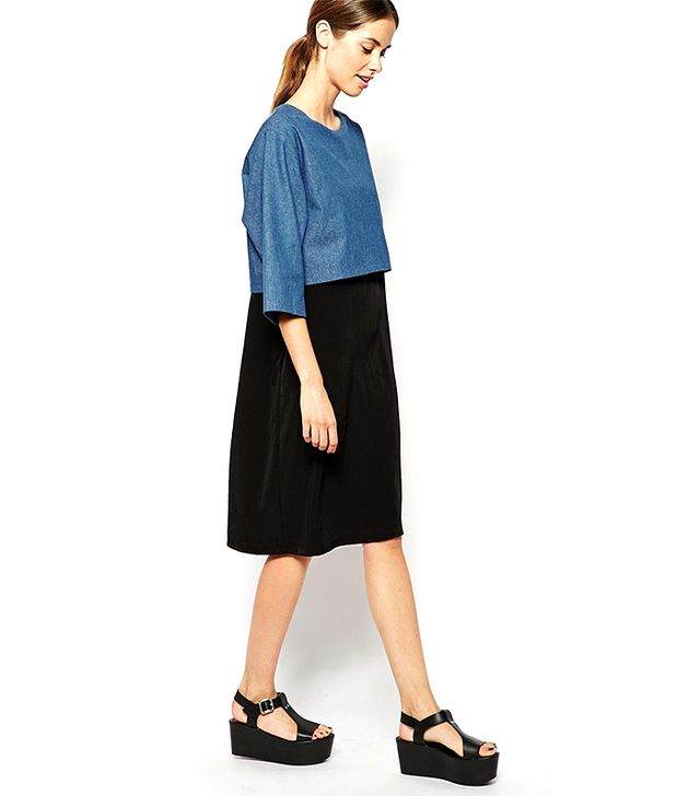 The Laden Showroom X Mirror Mirror Layered Midi Dress with Denim Top