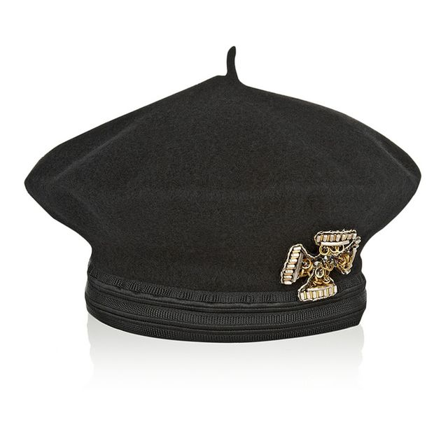 Alberta Ferretti Embellished Double-Faced Wool Beret
