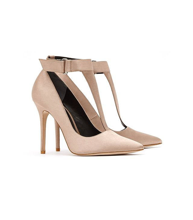 Reiss Poppy Satin T-Bar Court Shoes