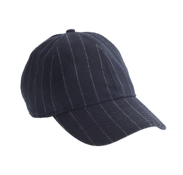 J.Crew Wool Pinstripe Baseball Hat