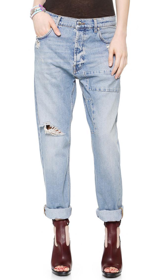 McQ Alexander McQueen Patched Boyfriend Jeans
