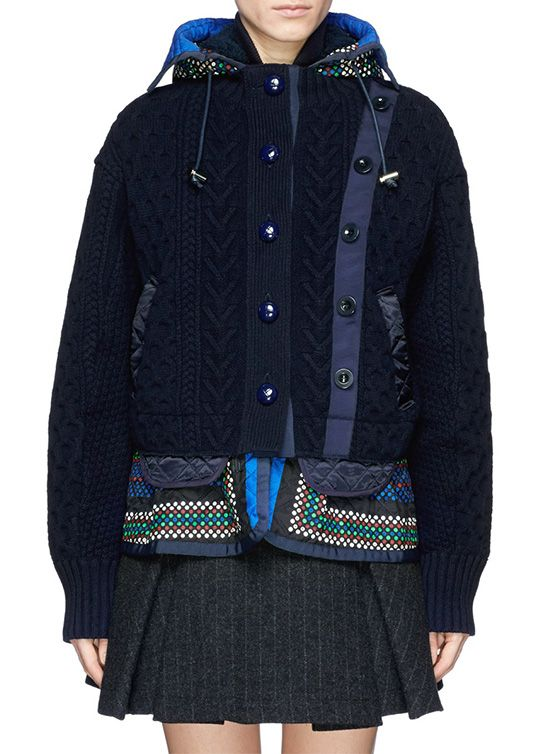 Sacai Double Layer Wool Cardigan And Quilted Peplum Jacket