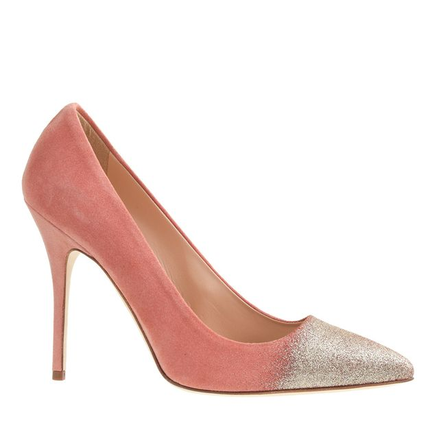 J. Crew Collection Roxie Glitter Suede Heels