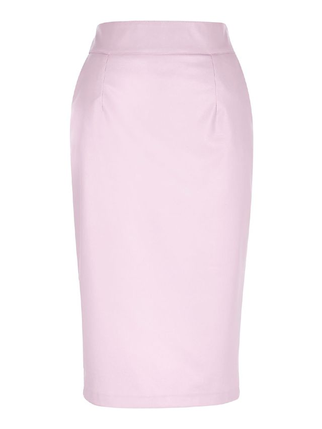 River Island Light Pink Leather Look Pencil Skirt