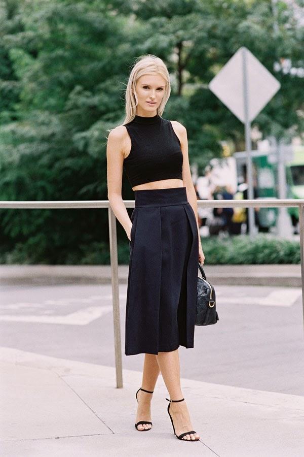 Instead, try: a high-waisted skirt.