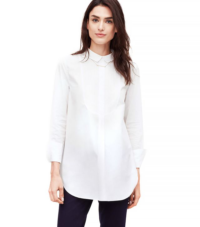 Loft Button-Back Tuxedo Softened Shirt