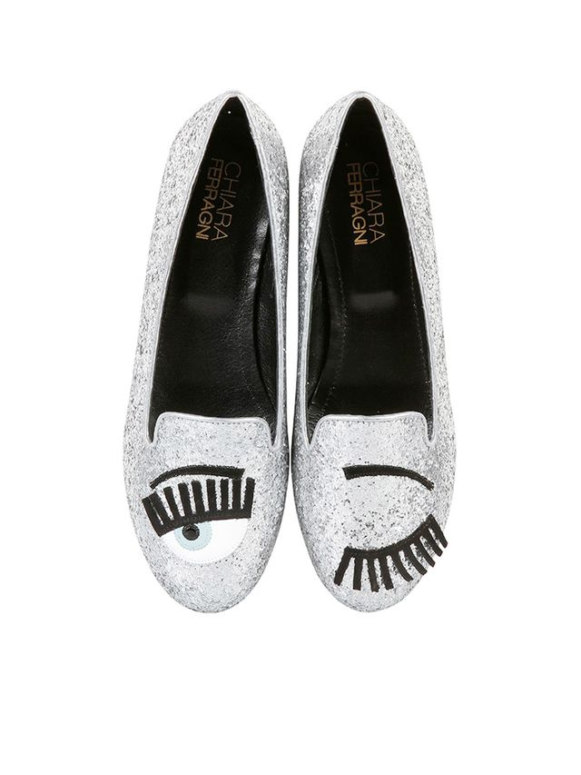 Chiara Ferragni Blink Eye Glitter Loafers