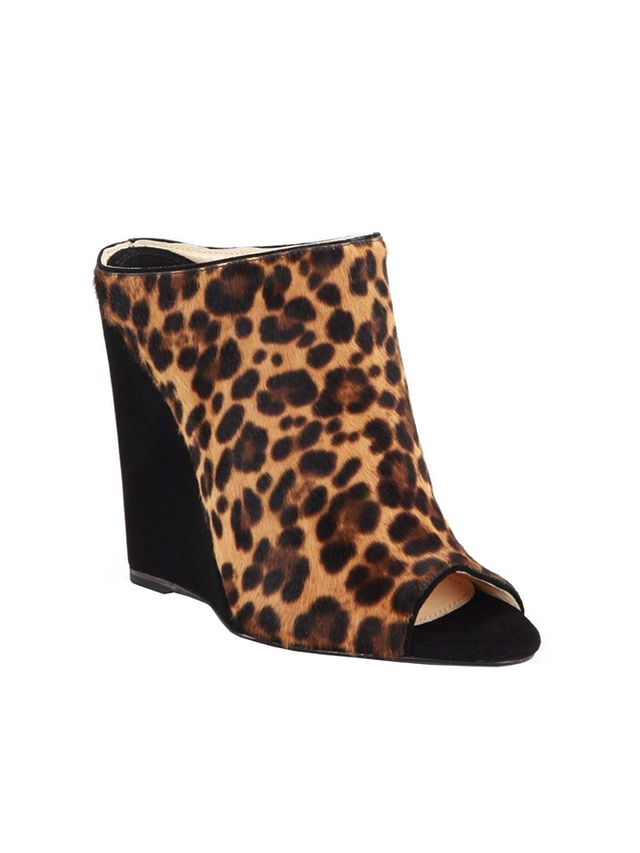 Prada Leopard-Printed Calf Hair & Suede Wedge Slides