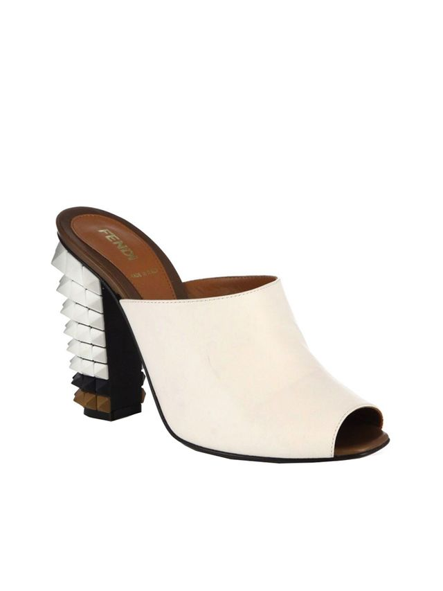 Fendi Leather Spiked-Heel Mules