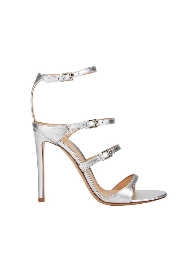 Gianvito Rossi Metallic Triple-Strap Sandals