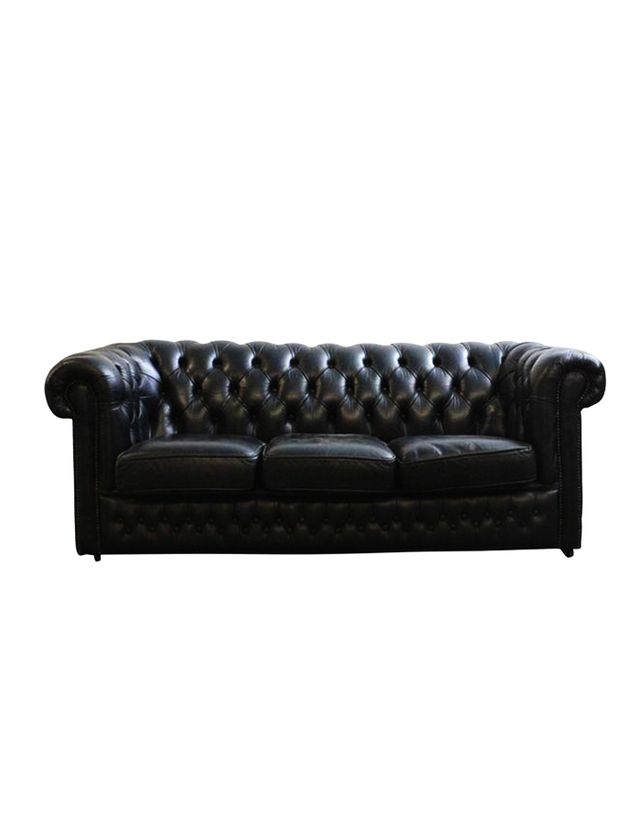Chairish Vintage English Tufted Black Leather Chesterfield