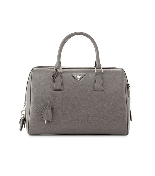 Prada Saffiano Bowler Bag with Strap in Grey