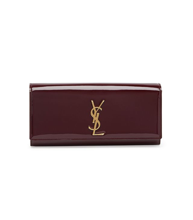 Saint Laurent Monogramme Patent Clutch Bag in Bordeaux