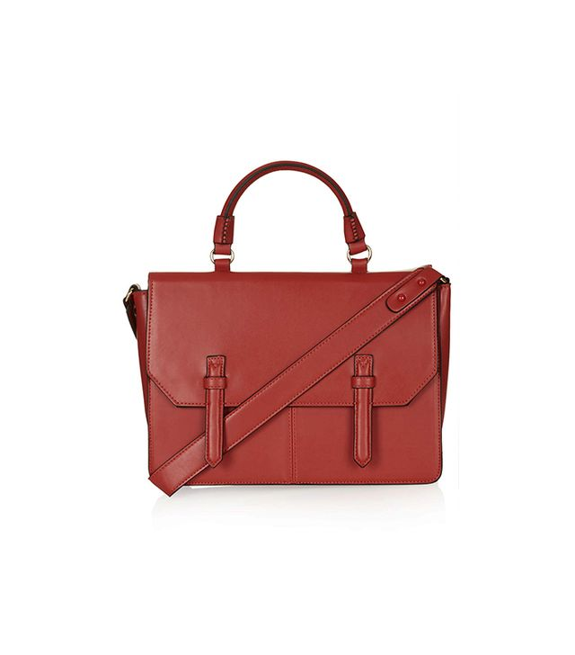 Topshop Large Faux Leather Clean-Cut Satchel
