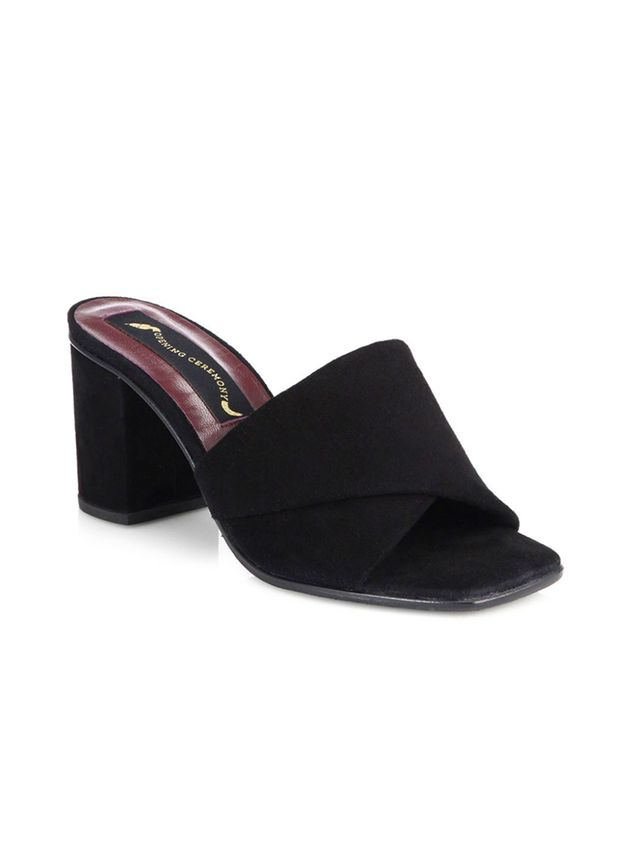 Opening Ceremony Curtain Suede Mid-Heel Sandals
