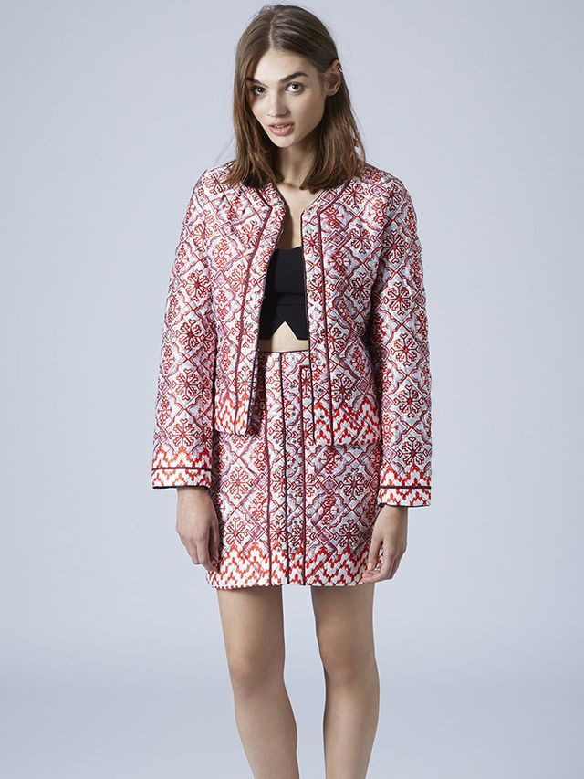 Topshop Quilted Tile Print Jacket and Mini Skirt