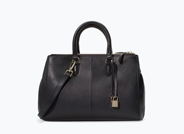 Zara Leather City Bag with Zips