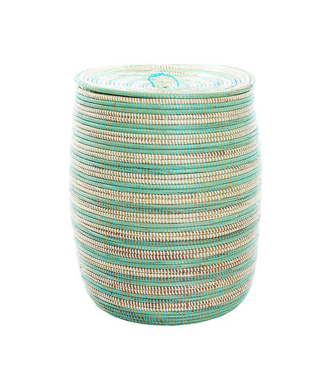 Wolof Weavers Sea Foam Stripe Tall Hamper