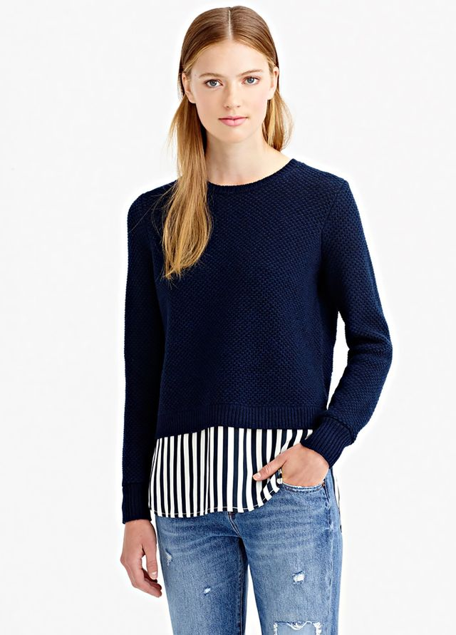 J.Crew Lambswool Shirttail Sweater In Stripe