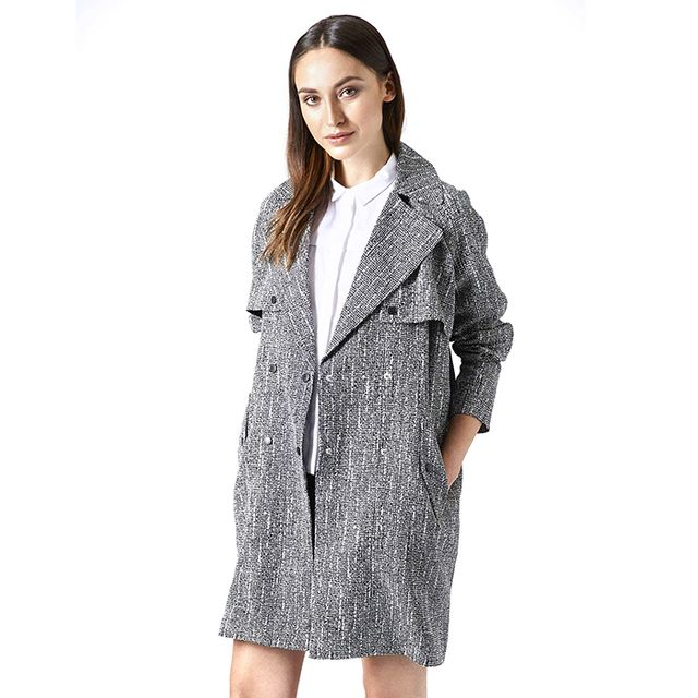 Topshop Graphic Print Storm Flap Duster Coat