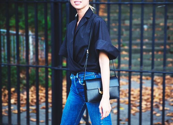 Get the Look: Topshop Moto Blue Mom Jeans ($70)