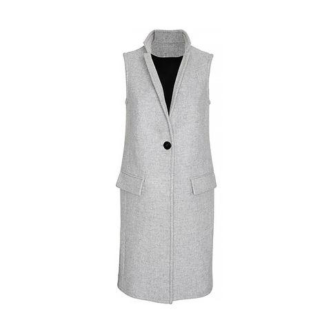 Tailored Long Vest in Grey