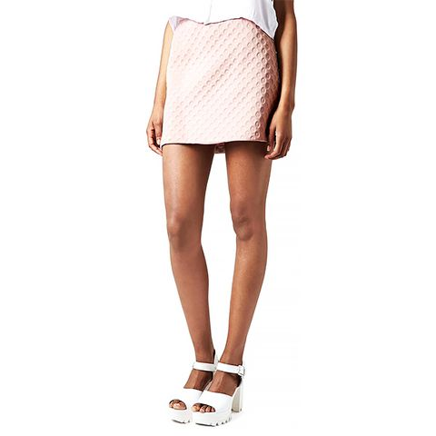 Foam Spot Embossed Miniskirt