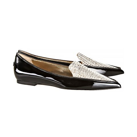 Guild Snake-Effect Leather Point-Toe Flats
