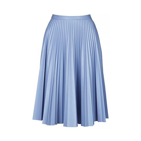 PU Pleated Midi Skirt