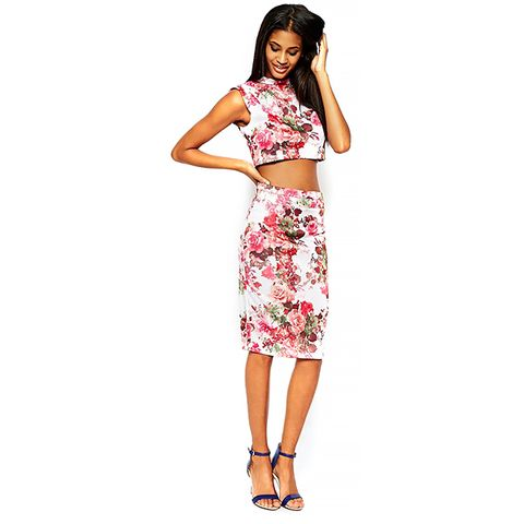 Co-Ord Floral Printed Scuba Pencil Skirt