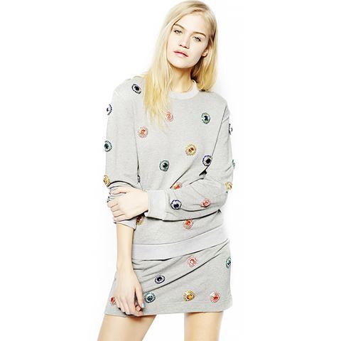 Crystal Print Sweatshirt and Skirt