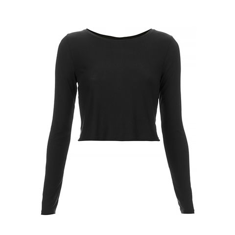 Tall Long Sleeve Ribbed Crop Top