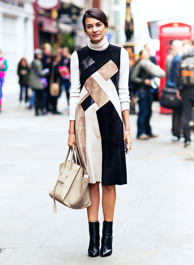 6. Turtleneck Sweater + Sleeveless Dress + Booties
