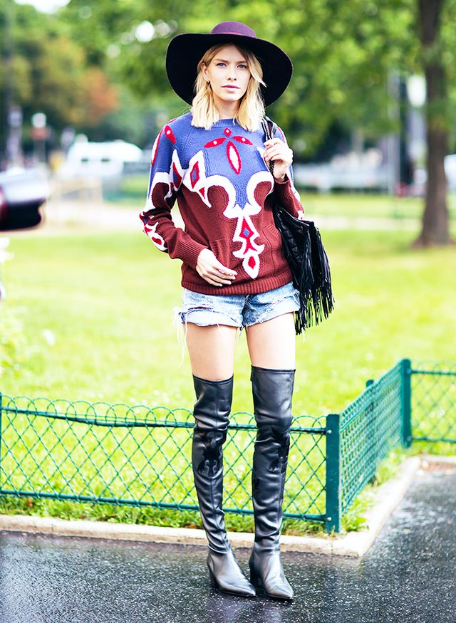 2. Printed Sweater + Hat + Over-The-Knee Boots
