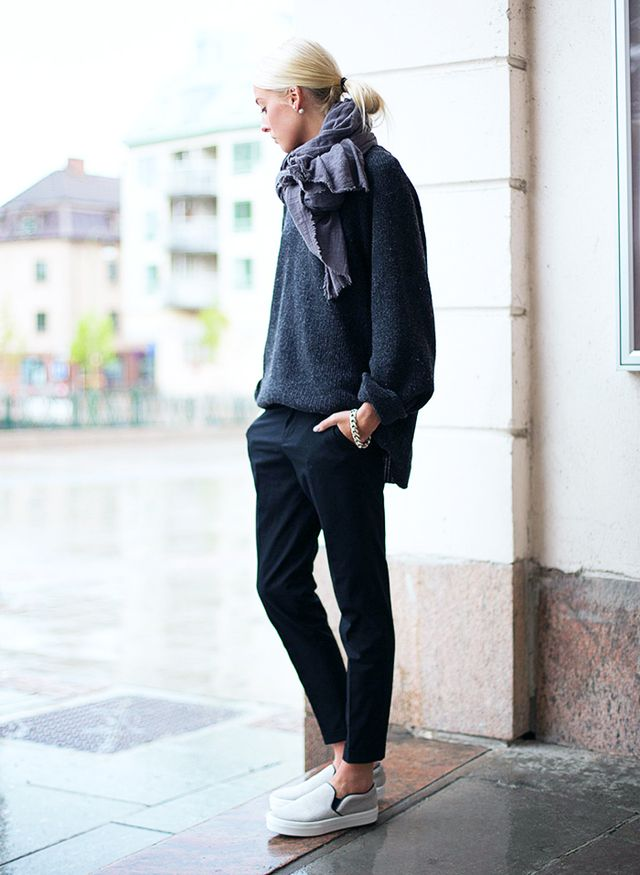 4. Boyfriend Sweater + Tailored Trousers + Slip-On Sneakers