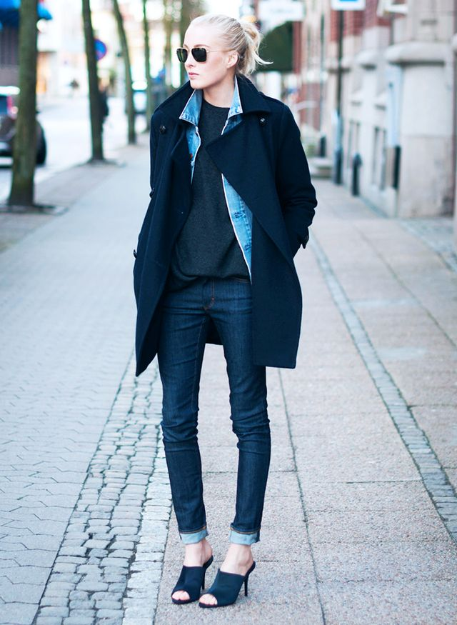 8. Simple Sweater + Denim Jacket + Coat