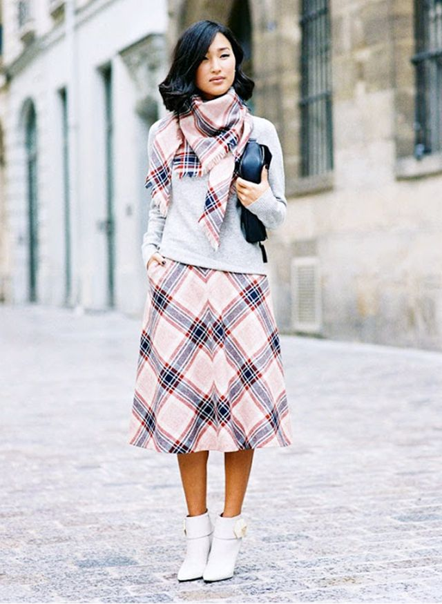 7. Gray Sweater + Printed Skirt + Heeled Booties