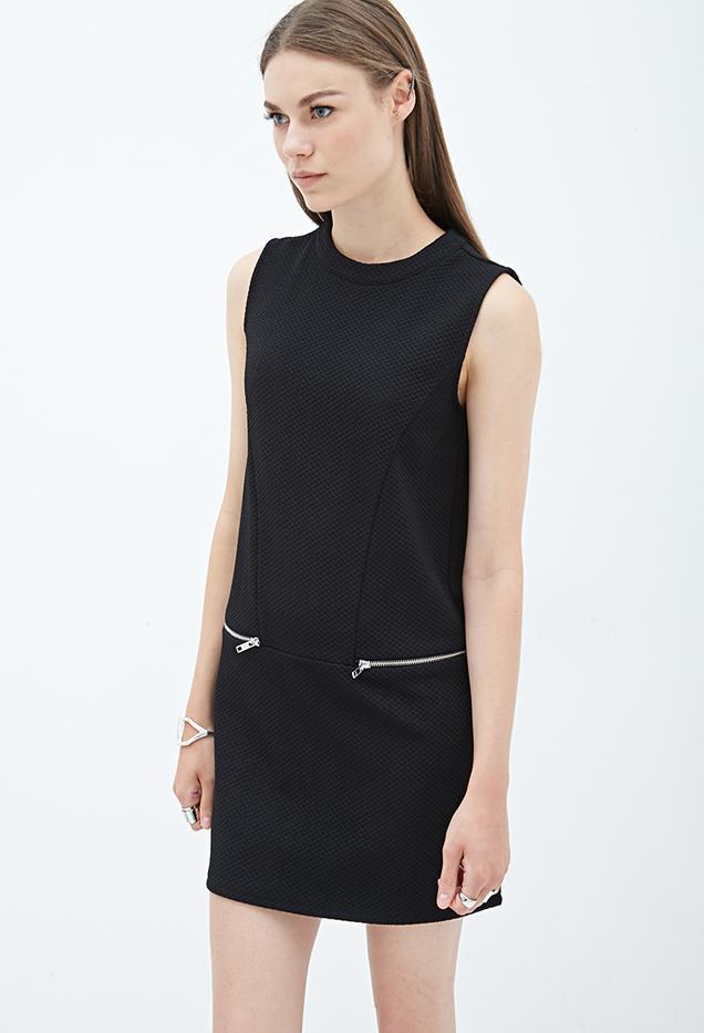 Forever 21 Textured Knit Zipper Dress